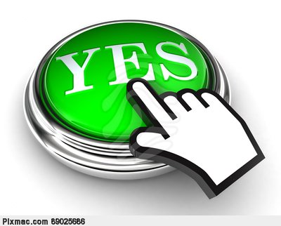 Yes Green Button And Pointer Hand Stock Photo