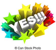 ... Yes Word and Stars - Agreement and Excitement - The word Yes.