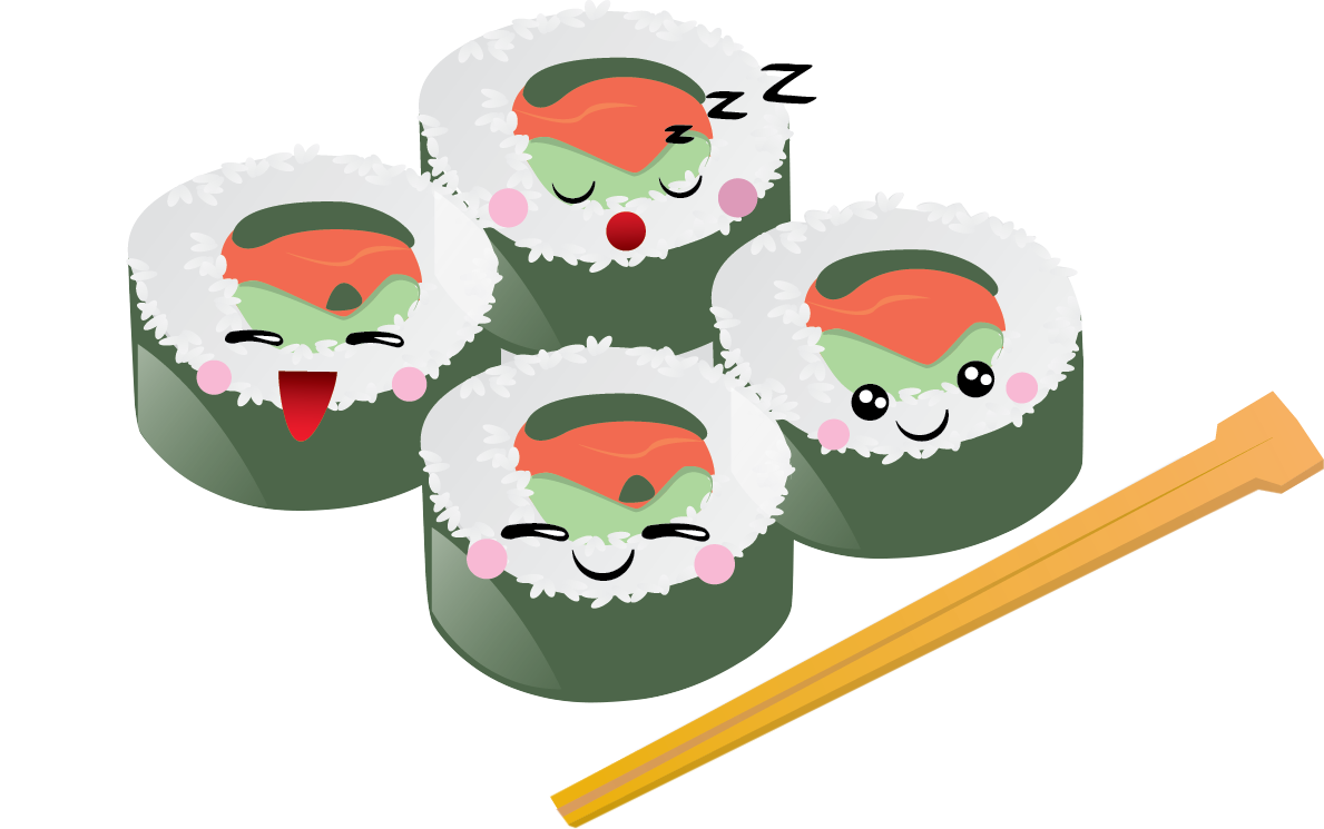 You can use this cartoon sushi clip art done in kawaii style on your personal or commercial projects. Spruce up your Japanese projects, food blogs, ...
