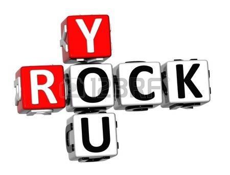 you rock: 3D Rock You Crossword on white background