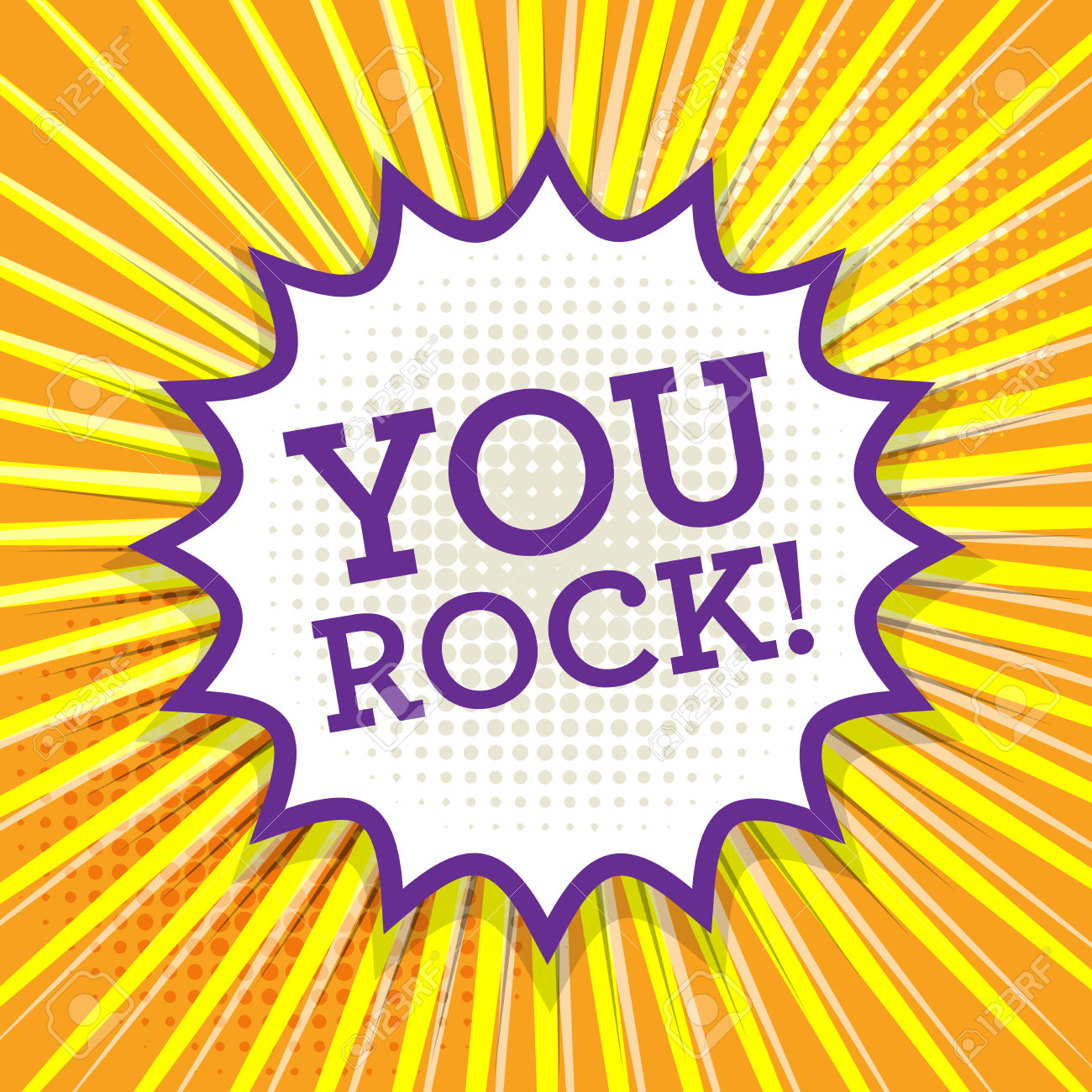 you rock: Comic book explosion with text You Rock, vector illustration