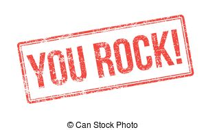 ... You Rock! Red rubber stamp on white. Print, impress,.