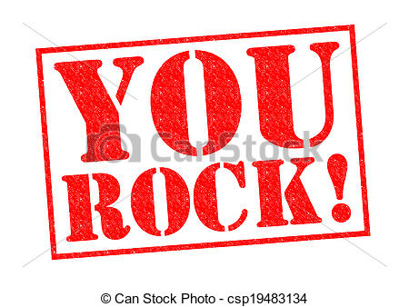 ... YOU ROCK! red Rubber Stamp over a white background.
