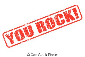 ... YOU ROCK red stamp text on white