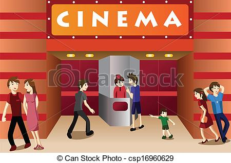 ... Young people hanging out outside a movie theater - A vector.