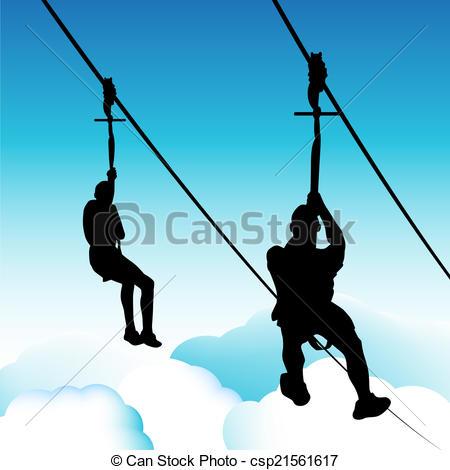 Zip Line Men - An image of zip line men. Zip Line Men Clipartby ...