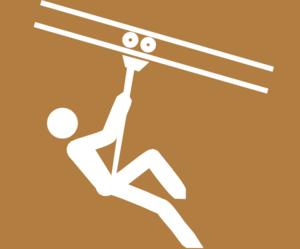 Zipline-sign White Brown Background Clip Art