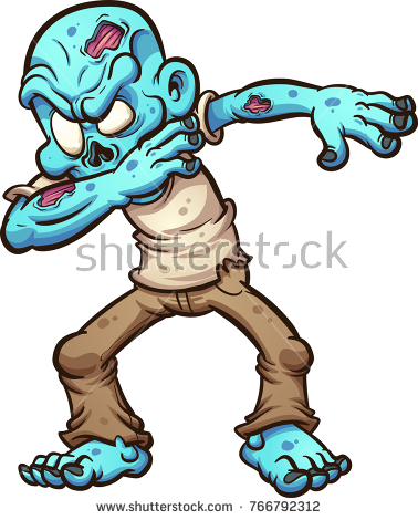 Dabbing cartoon zombie. Vector clip art illustration with simple gradients.  All in a single