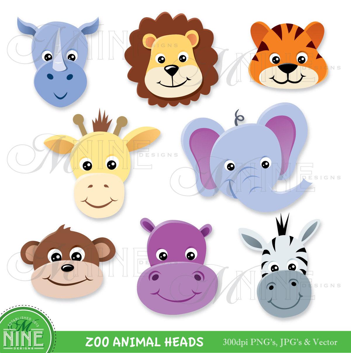 ZOO ANIMAL HEADS Clipart .