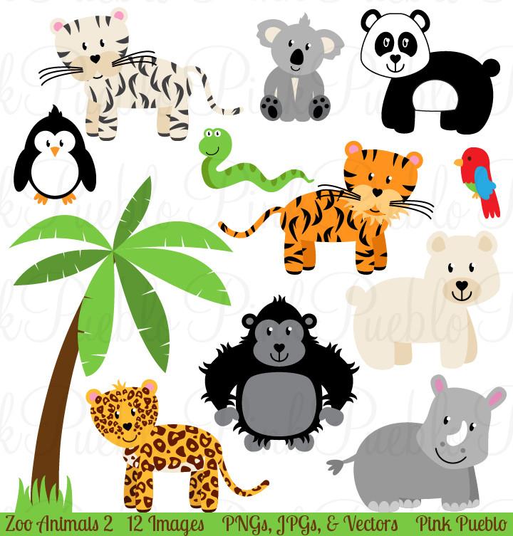 Zoo Jungle Animals Clipart u0026amp; Vectors   Jungle animals, Zoos and Animals